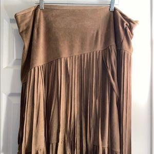 Brown fringe knee length skirt